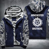 Winchester Brothers Printing Pattern Thicken Fleece Zipper Blue Camo Hoodies Jacket