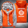 Winchester Brothers Printing Pattern Thicken Fleece Zipper Orange Grey Hoodieas Jacket