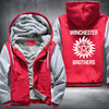 Winchester Brothers Printing Pattern Thicken Fleece Zipper Red Grey Hoodies Jacket