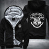 Hogwarts Printing Pattern Thicken Fleece Zipper Black Hoodies Jacket