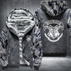 Hogwarts Printing Pattern Thicken Fleece Zipper Grey Camo Hoodies Jacket