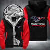 Mustang USA Printing Pattern Thicken Fleece Zipper Hoodies Jacket