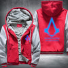 Nothing is true everything is permitted Printing Pattern Thicken Fleece Zipper Red Grey Hoodies Jacket