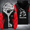 House Stark Printing Pattern Thicken Fleece Zipper Black Red Hoodies Jacket