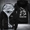 House Stark Printing Pattern Thicken Fleece Zipper Black Hoodies Jacket