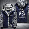 House Stark Printing Pattern Thicken Fleece Zipper Blue Camo Hoodies Jacket