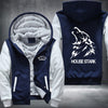 House Stark Printing Pattern Thicken Fleece Zipper Blue Hoodies Jacket