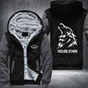 House Stark Printing Pattern Thicken Fleece Zipper Grey Hoodies Jacket