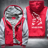 House Stark Printing Pattern Thicken Fleece Zipper Red Grey Hoodies Jacket
