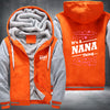 It's A NANA Thing Printing Pattern Thicken Fleece Zipper Orange Grey Hoodies Jacket