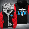 Licensed Practical Nurse Printing Pattern Thicken Fleece Zipper Black Red Hoodies Jacket
