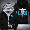 Licensed Practical Nurse Printing Pattern Thicken Fleece Zipper Black Hoodies Jacket