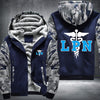 Licensed Practical Nurse Printing Pattern Thicken Fleece Zipper Blue Camo Hoodies Jacket