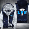 Licensed Practical Nurse Printing Pattern Thicken Fleece Zipper Blue Hoodies Jacket