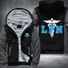 Licensed Practical Nurse Printing Pattern Thicken Fleece Zipper Grey Hoodies Jacket