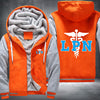 Licensed Practical Nurse Printing Pattern Thicken Fleece Zipper Orange Grey Hoodies Jacket