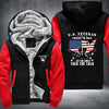 U.S. Veteran I walked the walk Printing Pattern Thicken Fleece Zipper Black Red Hoodies Jacket
