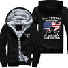 U.S. Veteran I walked the walk Printing Pattern Thicken Fleece Zipper Black Hoodies Jacket