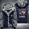 U.S. Veteran I walked the walk Printing Pattern Thicken Fleece Zipper Blue Camo Hoodies Jacket