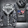 U.S. Veteran I walked the walk Printing Pattern Thicken Fleece Zipper Grey Camo Hoodies Jacket