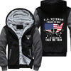 U.S. Veteran I walked the walk Printing Pattern Thicken Fleece Zipper Grey Hoodies Jacket