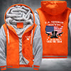 U.S. Veteran I walked the walk Printing Pattern Thicken Fleece Zipper Orange Grey Hoodies Jacket