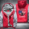 U.S. Veteran I walked the walk Printing Pattern Thicken Fleece Zipper Red Grey Hoodies Jacket