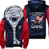 U.S. Veteran I walked the walk Printing Pattern Thicken Fleece Zipper Red Hoodies Jacket