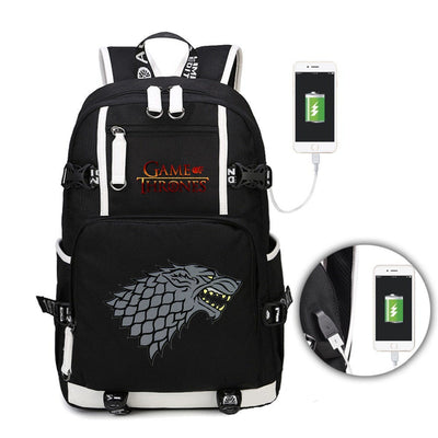 Game of thrones students USB Charge Backpack