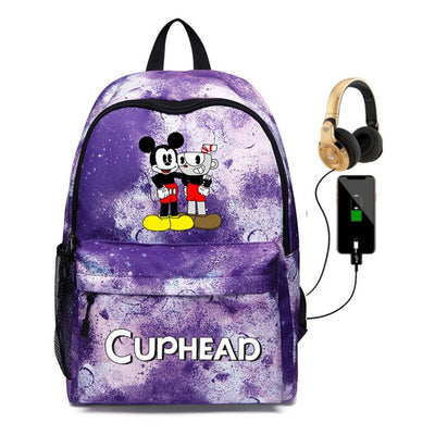Dabbing Cuphead Mugman USB charging Backpack