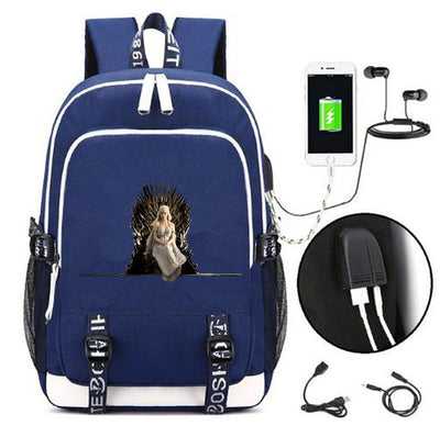 Arya Stark  Game of thrones USB charging students Backpack