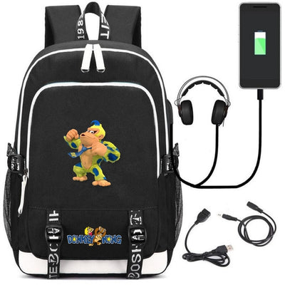 Children's King Kong canvas Backpack USB Charging