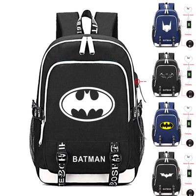 DC Super hero Batman logo canvas Backpack USB Charging