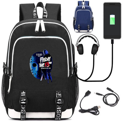 Friday the 13th canvas Backpack USB Charging