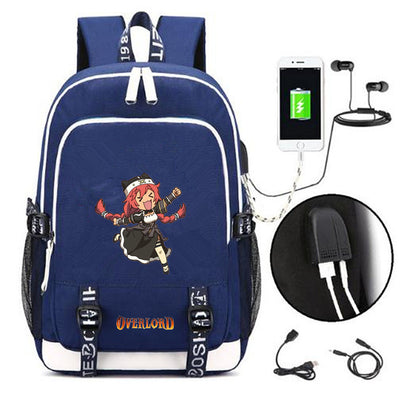 Overlord backpack Ainz Ooal Gown canvas USB Charging bagpack