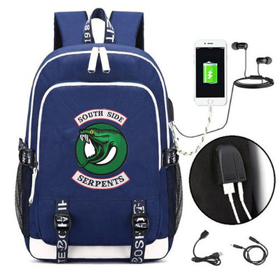 Riverdale South side serpents printing USB Charging Backpacks