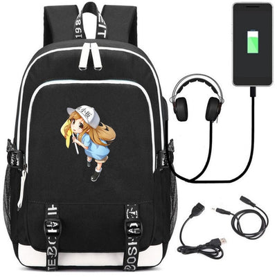 Cells At Work USB charging 17 inch laptop Hataraku Saibou Canvas Backpack