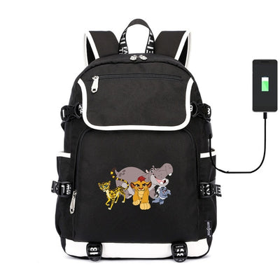 Cute movie The Lion King Simba  USB charge canvas Backpack