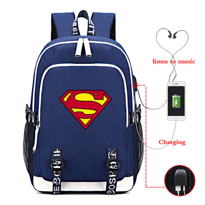 Hero Superman USB Charging canvas Backpack