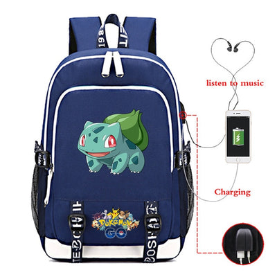 pikachu gengar Pocket Monster USB Charging canvas school backpack