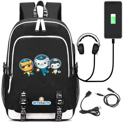 Cute Octonauts USB Charging canvas Backpack