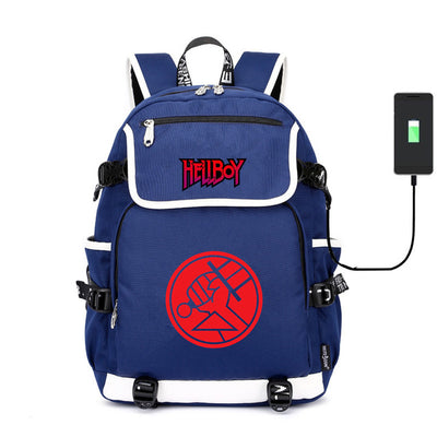 Hellboy Rise of the Blood Queen canvas USB charge Backpack