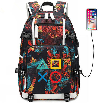 Ps4 Playstation usb charging canvas Laptop Backpack