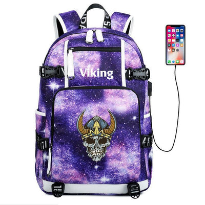 Viking Valknut Symbol usb charging canvas Laptop Backpack