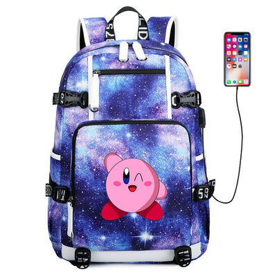 Game Kirby printing usb charging canvas Laptop Backpack
