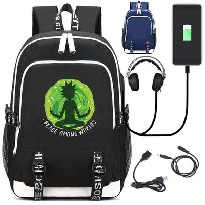 Rick and morty kid's USB charging Canvas School Backpack