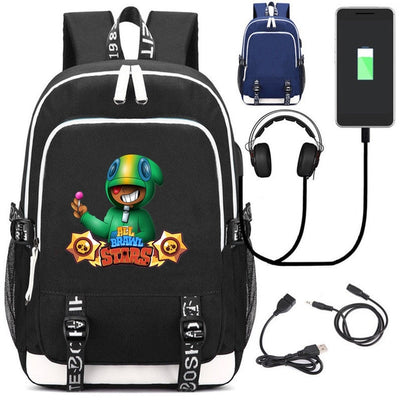 Brawl Stars leon Bookbag USB charging Canvas laptop Backpack