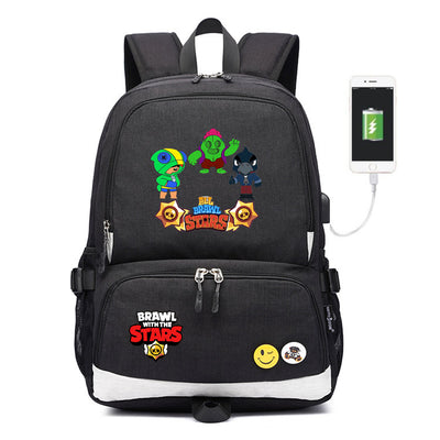 Brawl Stars Leon usb charging canvas Laptop Backpack