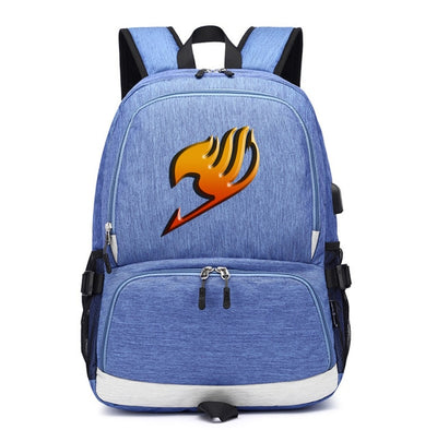 FAIRY TAIL Guild LOGO usb charging canvas Laptop Backpack