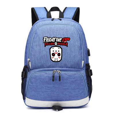 Friday the 13th Jason Voorhees usb charging canvas Laptop Backpack